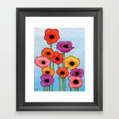 Colorful Poppies on Blue Framed Art Print