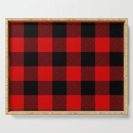Red Lumberjack Pattern Serving Tray