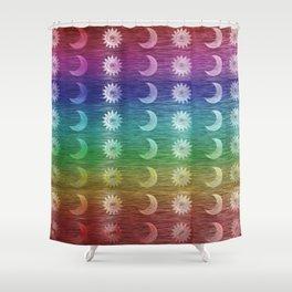 Rainbow Sun and Moon Celestial Hippie Pattern Shower Curtain