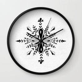Winter in black and white - Snowflake Wall Clock