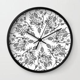 BLACK AND WHITE FLORAL MANDALA Wall Clock