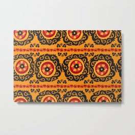 Colorful traditional asian carpet embroidery motifs pattern Metal Print