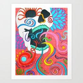 Swirly Skull Art Print