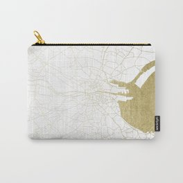 White on Gold Dublin Street Map Carry-All Pouch