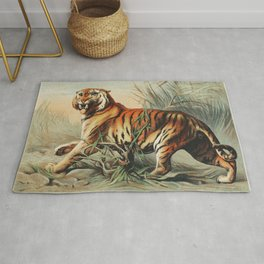 Royal bengal tiger from Johnson's household book of nature (1880) by John Karst (1836-1922) Rug