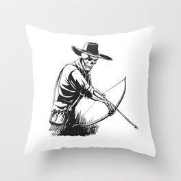 Cowboy skeleton with crossbow - black and white - gothic skull cartoon - ghost silhouette Throw Pillow
