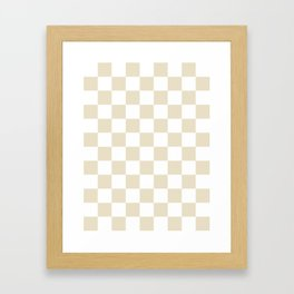Checkered - White and Pearl Brown Framed Art Print