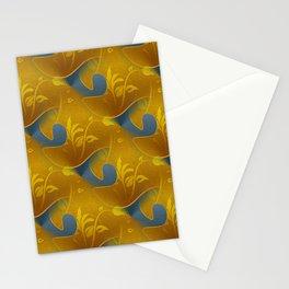 Golden Diamond Leaf pattern Stationery Cards
