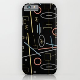Lines and circles abstract in black and warm tones iPhone Case