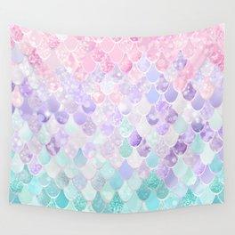 Cute Mermaid Pattern, Light Pink, Purple, Teal Wall Tapestry