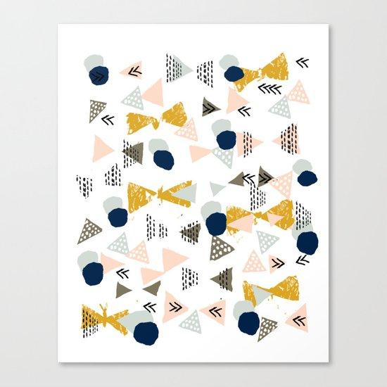 Minimal modern color palette navy gold abstract art painted dots pattern Canvas Print