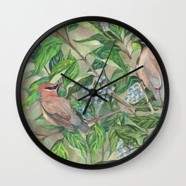 Cedar Waxwings bird and berries Wall Clock