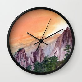 Morning Light On The Mountain Wall Clock