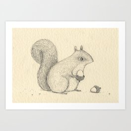 Monochrome Squirrel Art Print