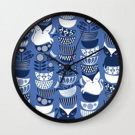 Swedish folk cats I // Indigo blue background Wall Clock