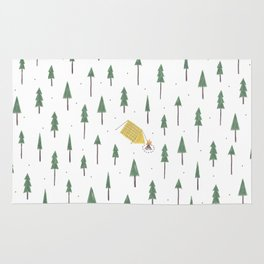 Camping in the woods Rug