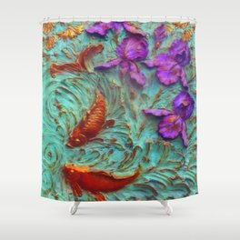 DIMENSIONAL PURPLE IRIS FLOWERS & GOLDEN KOI FISH Shower Curtain