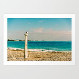 Seacoast of Cagnes-sur-Mer in a sunny winter day Art Print