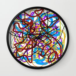 Rainbow Energy Abstract Digital Painting Wall Clock