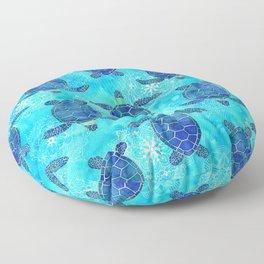 Watercolor Sea Turtles Mandalas Floor Pillow