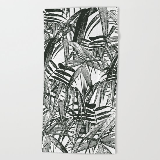 Black and White Vintage Palm Leaf Pattern Beach Towel