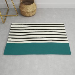 Dark Turquoise & Stripes Rug