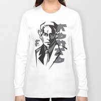 kafka Long Sleeve T-shirts featuring Kafka portrait in Black & Dark Greys by aygeartist