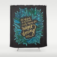 fitzgerald Shower Curtains featuring Zelda Fitzgerald – Blue on Black by Cat Coquillette