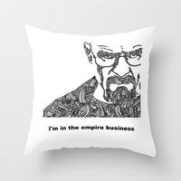 walter white Throw Pillows featuring Walter White by christoph_loves_drawing