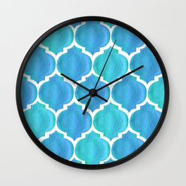 Blue Arabesque Wall Clock