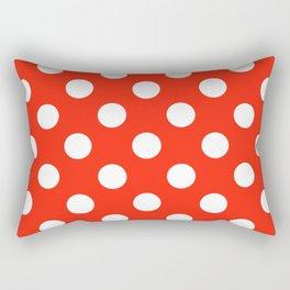 Red (RYB) - red - White Polka Dots - Pois Pattern Rectangular Pillow