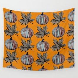 Pumpkin Spooky Fall Leaf Wall Tapestry