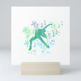 Figure Skater  Watercolor Design Style 2 Mini Art Print