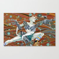 tank girl Canvas Prints featuring Tank Girl by Alex Bayliss