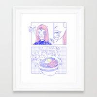 ramen Framed Art Prints featuring ramen by 96step