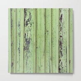 Rustic mint green grunge wood panels Metal Print