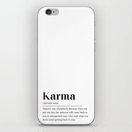 Karma Definition iPhone Skin