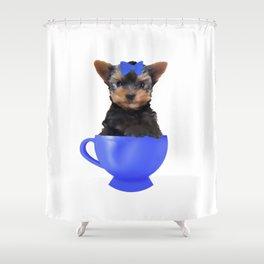 Teacup Yorkie Shower Curtain