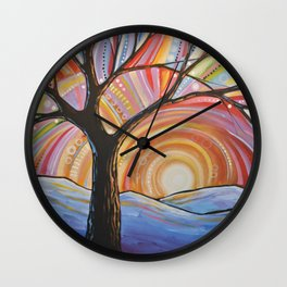 Abstract Art Landscape Original Painting ... Mountain Majesty Wall Clock