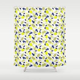 Summer Mediterranean Lemons and Blue Leaves Pattern Shower Curtain