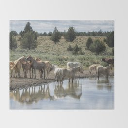 Wild Horses and Biting Flies Throw Blanket