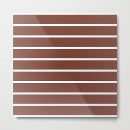 Horizontal Lines (White & Maroon Pattern) Metal Print
