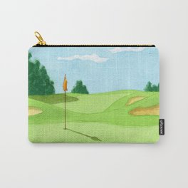 Golf Course Putting Green Watercolor Painting Carry-All Pouch