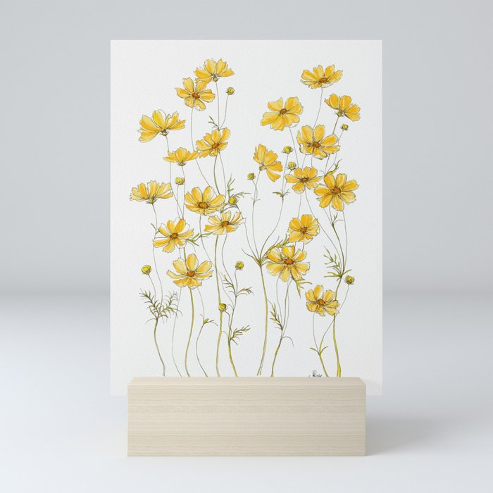 Yellow Cosmos Flowers Mini Art Print