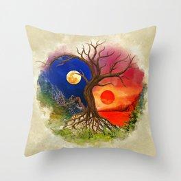 Yin Yang Tree Landscape Throw Pillow