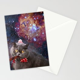 Cute Astro Space Cat In Universe Stationery Cards