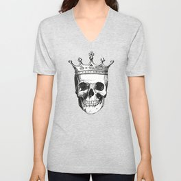 Skull King | Skull with Crown | Black and White | Unisex V-Neck