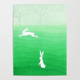Rabbits meadow Poster
