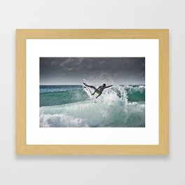 Filipe Toledo, Surfing in Hossegor, France, 2013.  Framed Art Print