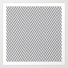 Grey Herringbone Art Print
